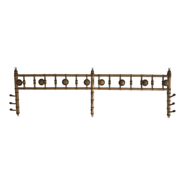 Faux Bamboo Wall Mounted Peg Coat Hat Rack For Sale