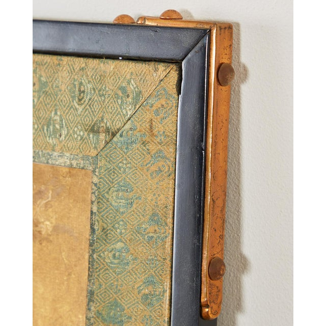 Japanese Six Panel Meiji Screen Chrysanthemums and Waterfall For Sale - Image 10 of 13