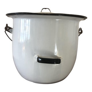 Antique White Enamel Chamber Pot With Lid For Sale