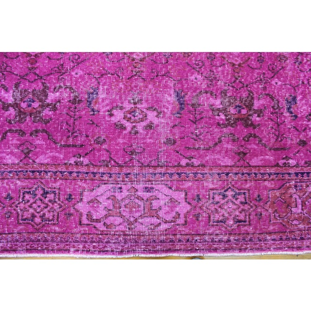 Hot Pink Overdyed Hand Woven Rug - 6′10″ × 10′1″ - Image 5 of 7