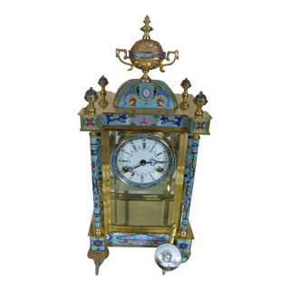 Antique Blue Cloisonne Mantel Clock For Sale