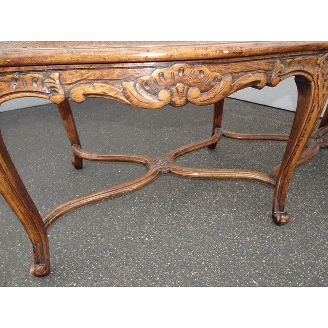 Vintage Martin of London French Country Brown Ornately Carved Cane Settee For Sale - Image 12 of 13