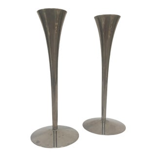 Danish Modern Solingen Stainless Steel Candlesticks - a Pair For Sale