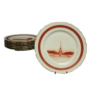 Limoges T & V French Landmark Dinner Plates - Set of 7