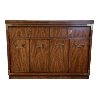 Campaign Style Dry Bar Cabinet Server W Convertible Server Bar of Wood & Brass For Sale