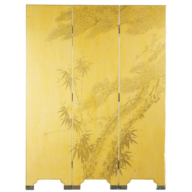 2010s Double-Sided Leather Wisteria Scene 4 Panel Room Divider Screen in Mustard Yellow by Lawrence & Scott For Sale - Image 5 of 6
