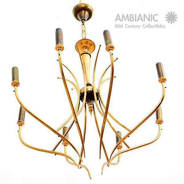 Metal Italian Chandelier After Guglielmo Ulrich For Sale - Image 7 of 10