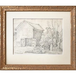 Antique Drawing of a Barn by Bolton C. 1900 For Sale