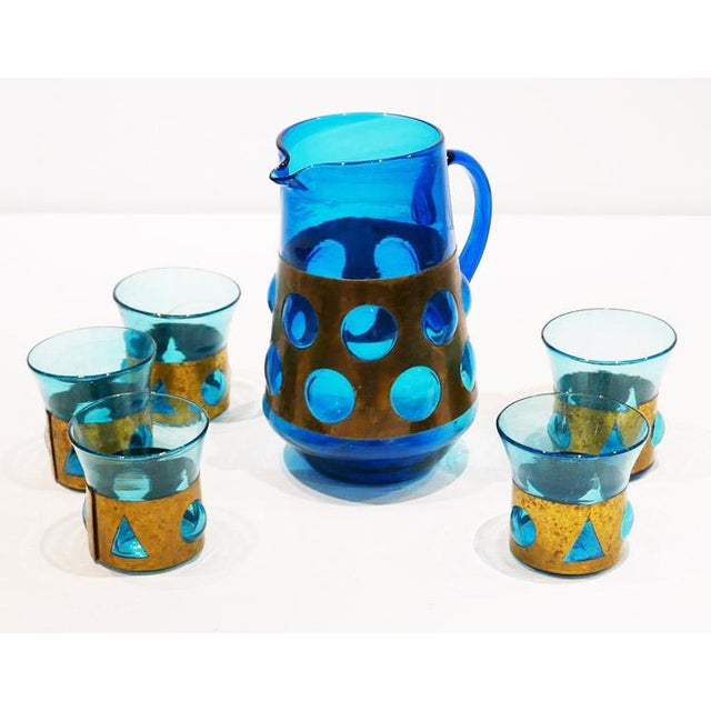 "1970s Mexico City Artist Felipe Derflingher's ""Imprisioned"" Pitcher and Glasses For Sale In Palm Springs - Image 6 of 6"