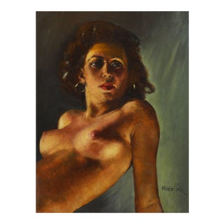 Erotic Nude Hungarian Oil Painting on Panel by Fried Pal