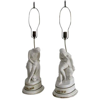 English Parian Figurines into Lamps - A Pair For Sale
