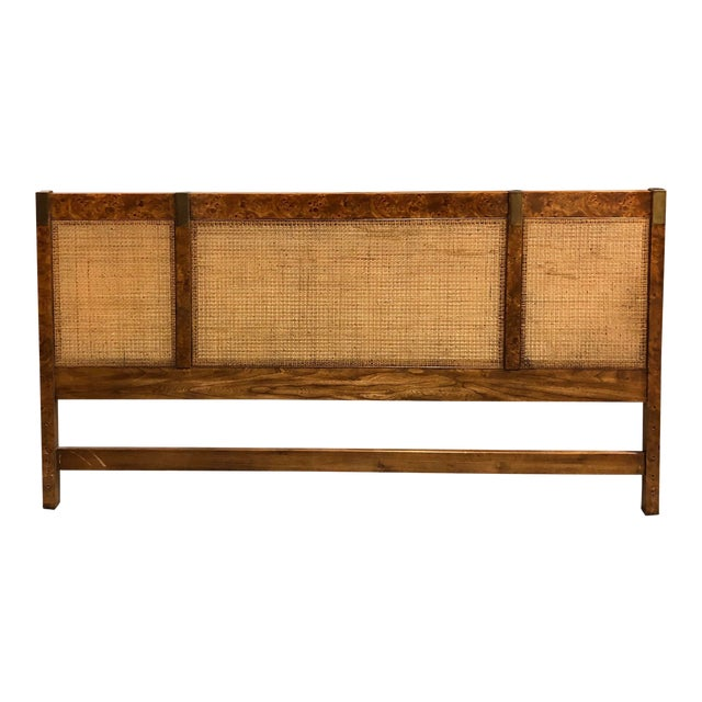 Vintage Campaign Burlwood and Brass Headboard For Sale