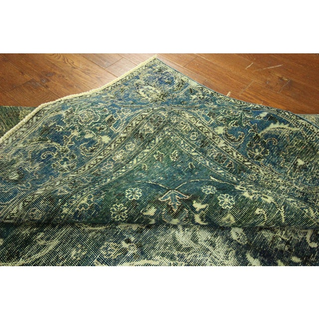 """Oriental Overdyed Tabriz Floral Rug - 9'2"""" x 10'2 - Image 9 of 11"""