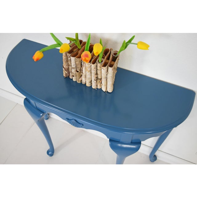 Blue Queen Anne Half-Moon Shape Blue Console Table For Sale - Image 8 of 9