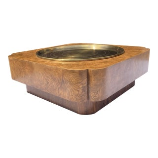 Mastercraft Style Free-Form Burlwood & Brass Coffee Table by Baker Furniture For Sale