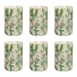 Image of Stories of Italy Nougat Tumblers - Green, Set of 6 For Sale