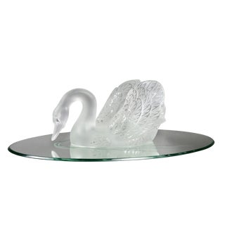 Lalique Crystal Swan Figure on Mirrored Base For Sale