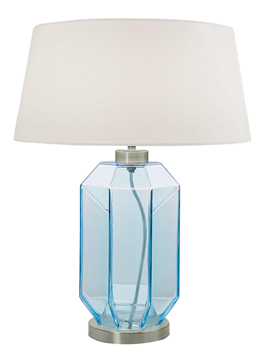 Laguna Hexa Hand Blown Glass Table Lamp In Aqua Chairish