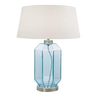 Laguna Hexa Hand Blown Glass Table Lamp in Aqua