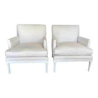 French 1940's Louis XVI Club Chairs in New Sunbrella Upholstery- a Pair For Sale