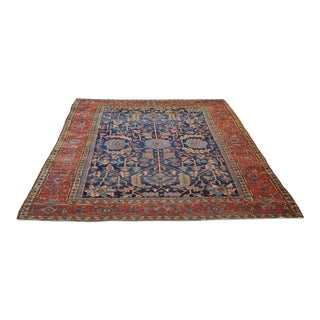 Antique Navy & Coral All-Over Sprawling Northwest Persian Heriz Rug For Sale