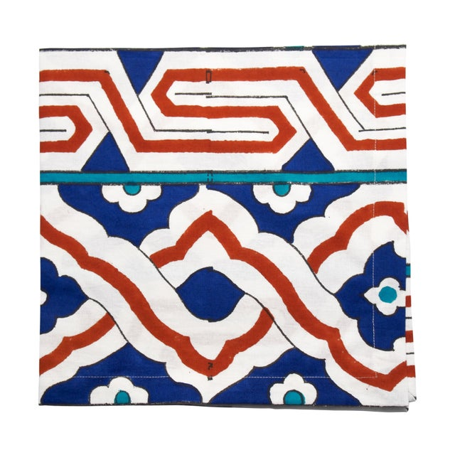 Osman Blockprinted Napkins by Tamam - Set of 4 For Sale - Image 4 of 4