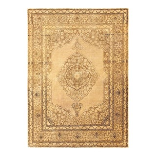 Scatter Size Antique Persian Tabriz Rug - 4′ × 5′8″ For Sale