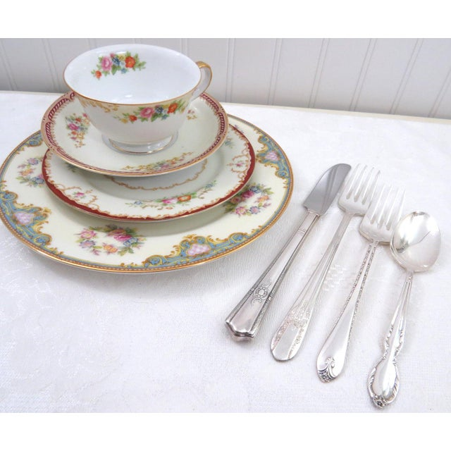 Vintage Mismatched Fine China & Silverware - Set of 32 - Image 10 of 11