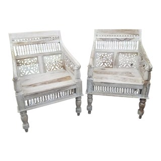 1970s Porter Maharaja Hand Carved Solid Sheesham Rajasthan Chairs - Pair For Sale