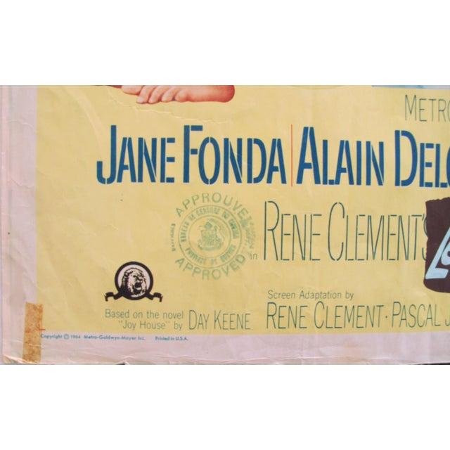 "1960s 1964 Original American Movie Poster - ""Joy House"" (Les Félins) With Jane Fonda & Alain Delon For Sale - Image 5 of 7"