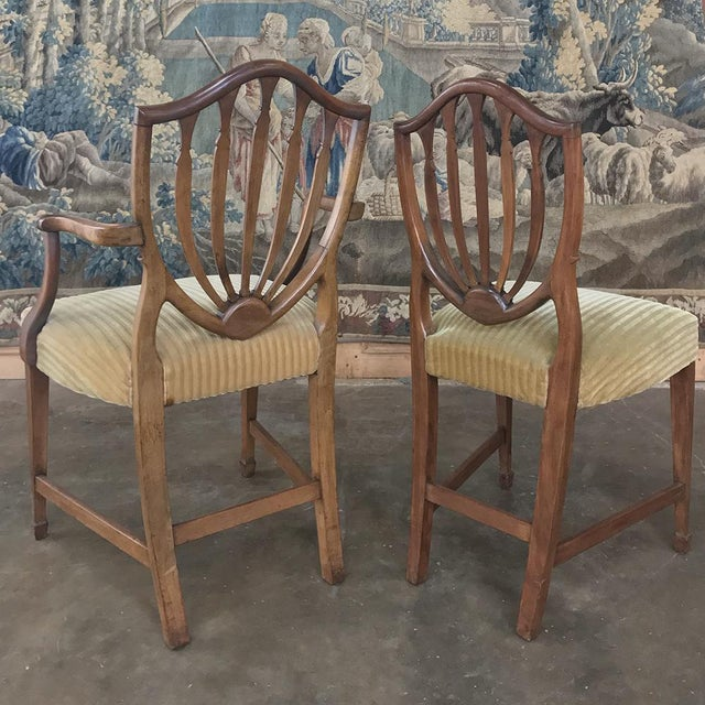 Early 20th Century Set of 12 Antique English Sheraton Dining Chairs Includes Four Armchairs For Sale - Image 5 of 13