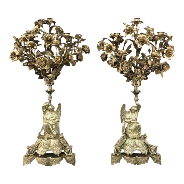Pair 19th Century Bronze Candlesticks With Angels ~ Napoleon III Period For Sale