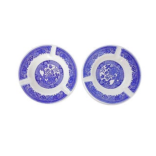 Blue and White Asian Motif Ashtrays - S/2 For Sale