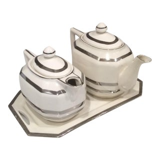Art Deco Style Mikori White China Ware Tea Set - 5 Piece For Sale
