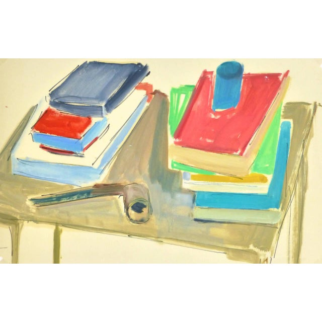 1960s Madeleine Scali, Vintage French Still-Life Painting - the Reader's Table For Sale - Image 5 of 5