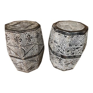 Timor Wood Stools - A Pair For Sale