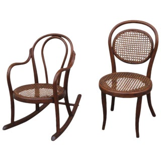 Pair of Matching 19th Century Bentwood Child's Rocking Chair and Chair For Sale