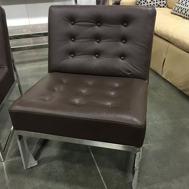 Drexel Heritage Leather & Chrome Chairs - A Pair - Image 5 of 6
