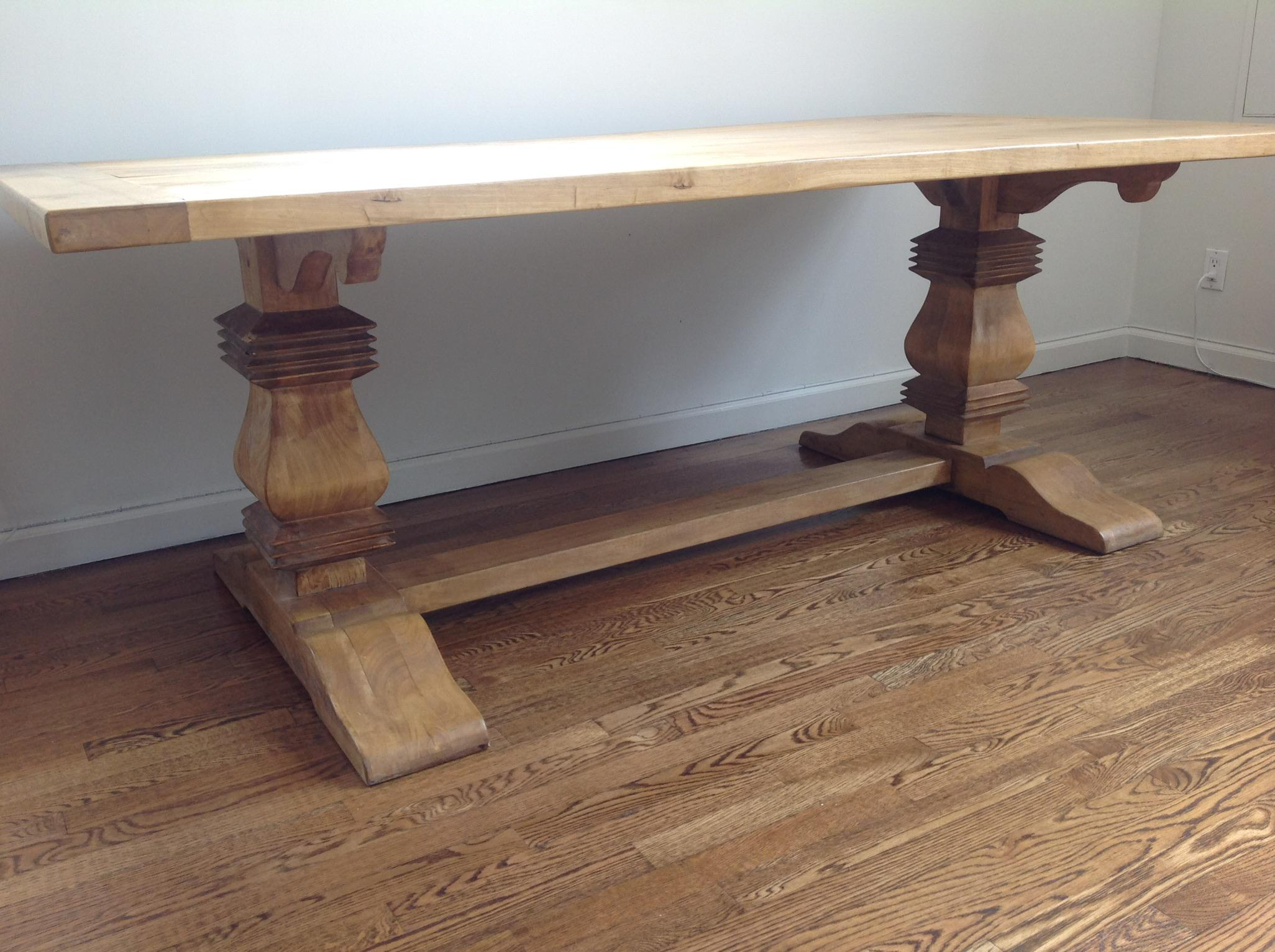 French Country French Country Farm Style Trestle Table With Windsor Back  Chairs For Sale   Image