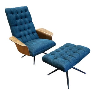 Mid 20th Century George Mulhauser for Plycraft Lounge Chair + Ottoman For Sale