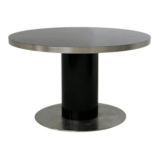 Italian Pedestal Round Table by Willy Rizzo in Steel and Wood Black, 1970s For Sale