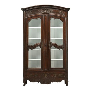 Antique French Walnut Armoire or China Cabinet For Sale