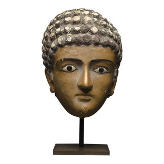 Egyptian Painted Plaster Funerary Mask of a Man For Sale