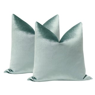 "22"" Turkish Blue Velvet Pillows - a Pair"