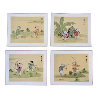 Set of Four- Vintage Chinese Silk Paintings of Children Playing