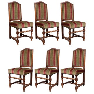 Early 19th Century Antique Louis XIII Style Dining Chairs - Set of 6 For Sale