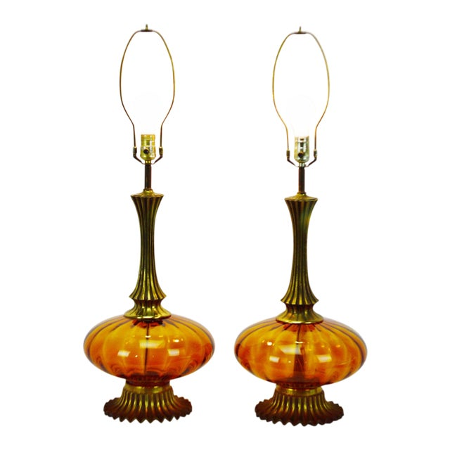 Mid Century Modern Amber Glass Table Lamps - a pair - Image 1 of 11
