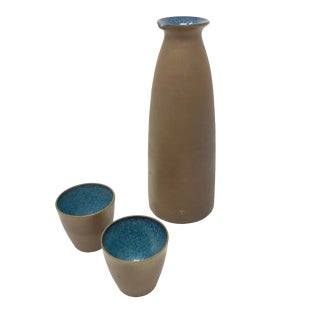 Vintage Studio Pottery Sake Set With Pitcher and Two Cups For Sale