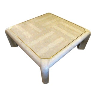 1980s Asian Modern Karl Springer Embossed Leather Coffee Table For Sale