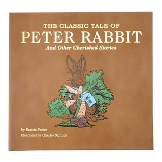 """Peter Rabbit"" by Beatrix Potter, Bonded Leather Book in Tan For Sale"